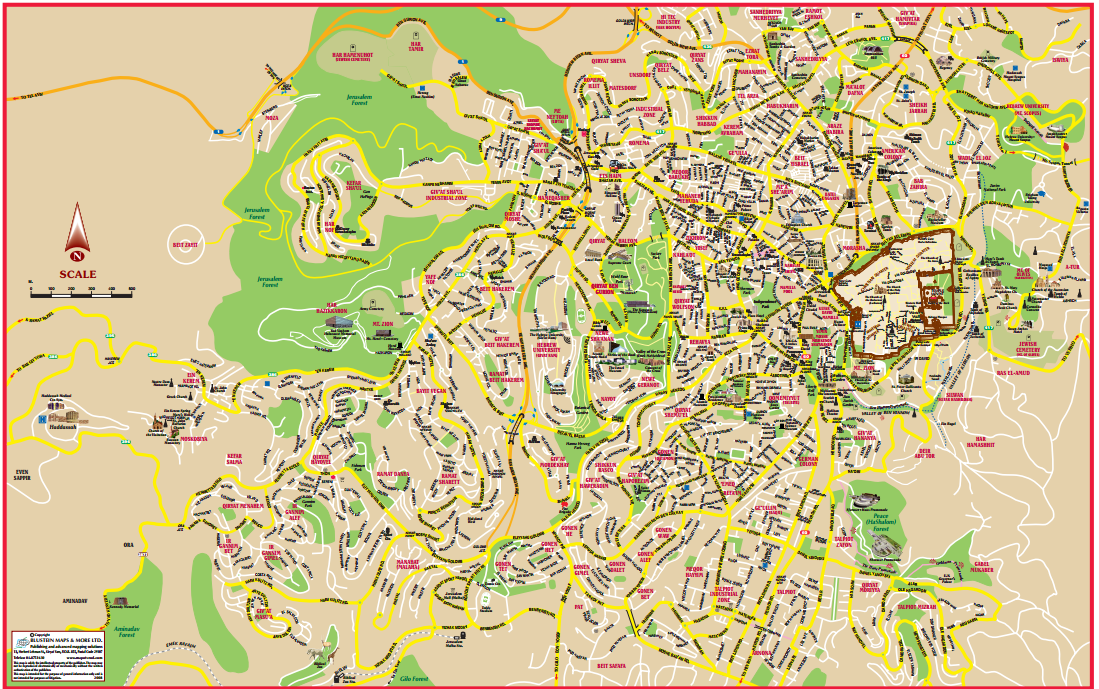 Maps Jerusalem Great maps of Jerusalem at the time of Jesus and – Jerusalem Tourist Map