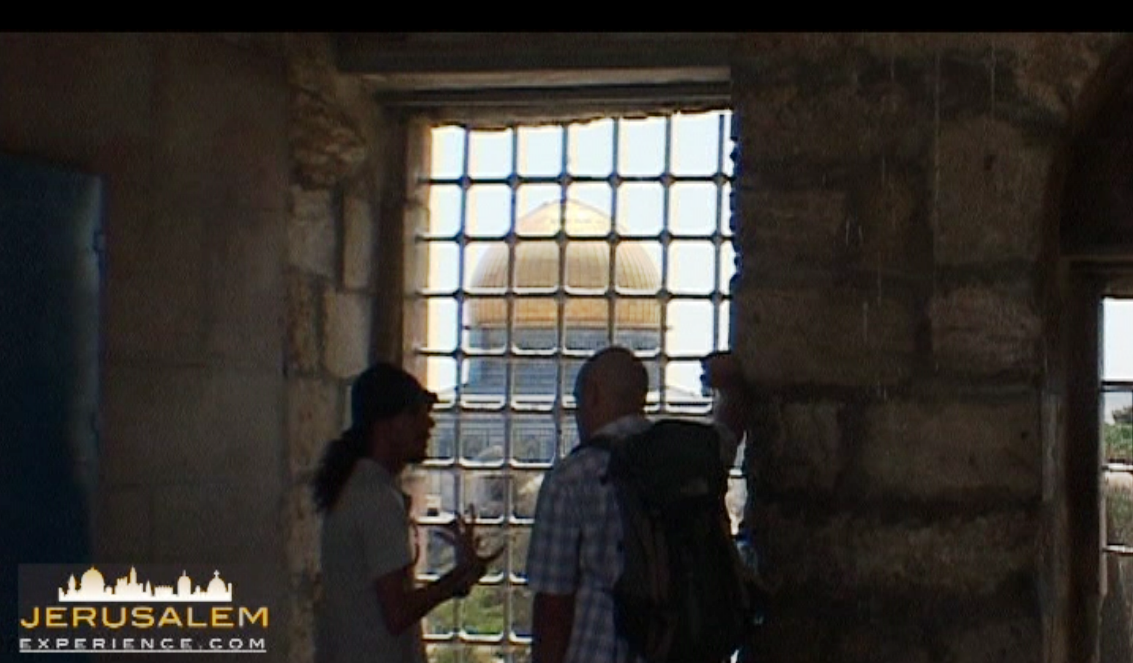 A view at Temple Mount from Station 1 of the Via Dolorosa