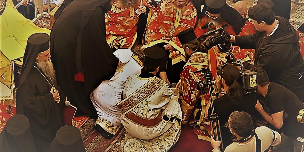 Washing of the feet ceremony during Holy Thursday Orthodox