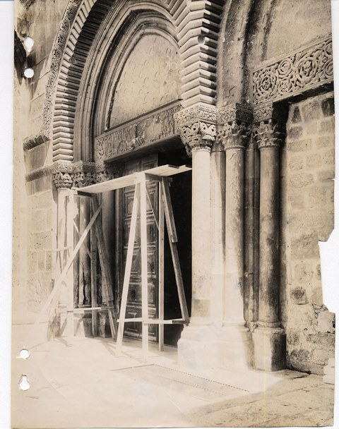 The 2 Lintels above the 2 doors (right one is currently blocked)  to the church of the holy sepulchre