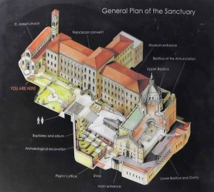 Map of the Church of the Annunciation in Nazareth